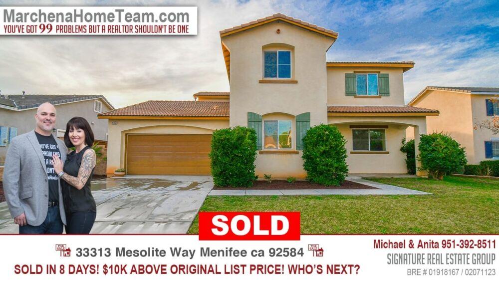 Sold 33313 Mesolite Way Menifee Ca 92584