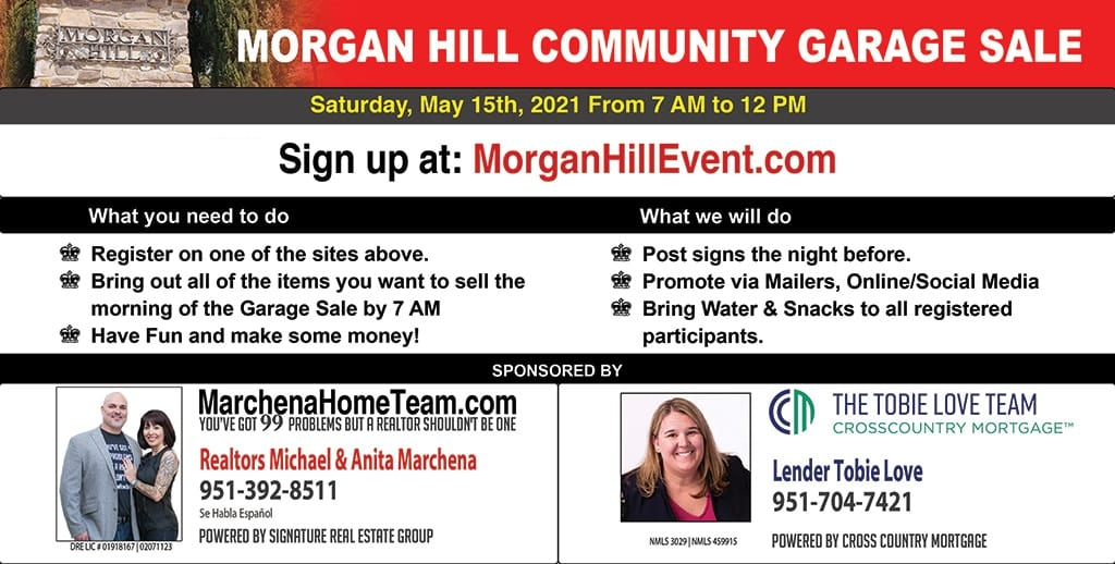 Morgan Hill Garage Sale Signup Page