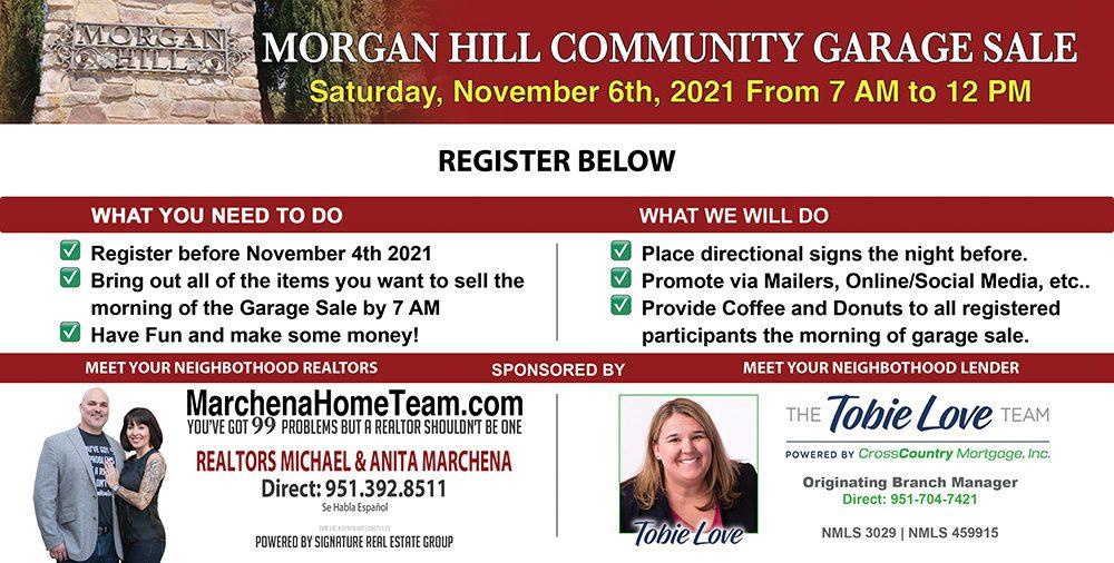 Morgan Hill Garage Sale 11-06-2021